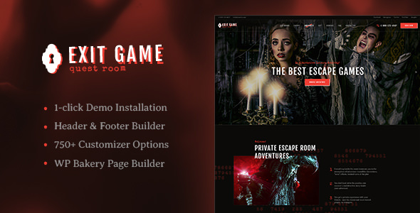Exit Game 1.2.2 - Real-Life Room Escape WordPress Theme