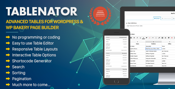 Tablenator 2.1.5 - Advanced Tables for WordPress & WP Bakery Page Builder