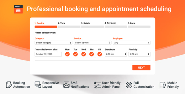 Bookly Pro 1.6.1 - Appointment Booking and Scheduling Software System