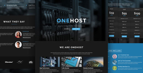 Onehost 1.3.9 - One Page WordPress Hosting Theme + WHMCS