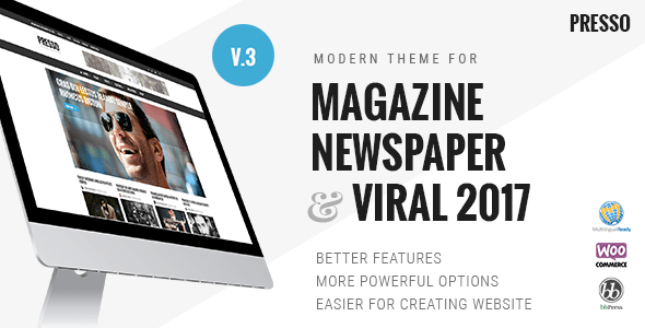 PRESSO 3.3.3 - Modern Magazine / Newspaper / Viral WordPress Theme