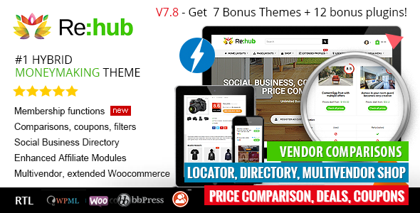 REHub 7.8.7 - Directory Multi Vendor Shop Coupon Affiliate Theme