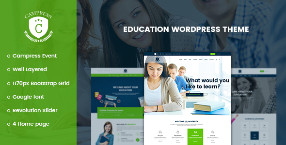 Campress 1.20 - Responsive Education, Courses and Events WordPress Theme