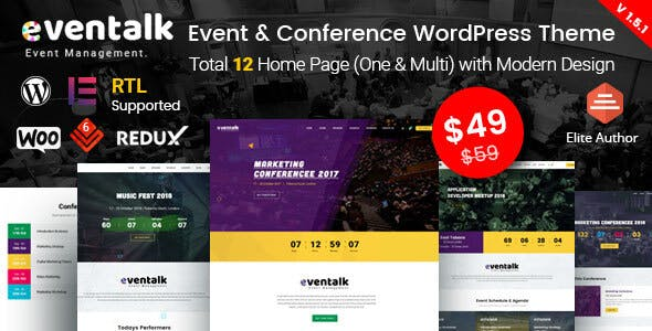 EvenTalk 1.5.7 - Event Conference WordPress Theme