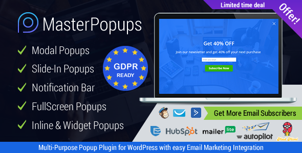 Master Popups 3.0.1 (Nulled) - WordPress Popup Plugin for Email Subscription