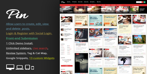 Pin 5.0 - Pinterest Style / Personal Masonry Blog / Front-end Submission