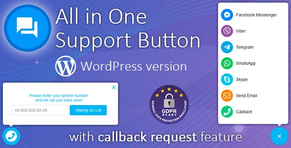 All in One Support Button 1.7.9 (Nulled)  - Callback Request Feature For WordPress