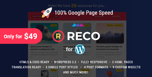 Reco 4.0.0 (Nulled) - Minimal Theme for Freebies