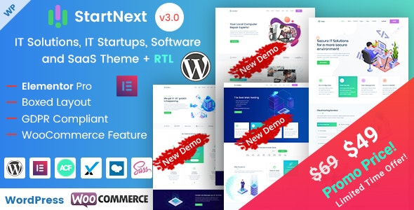 StartNext 3.2.0 - IT Startups and Digital Services WordPress Theme