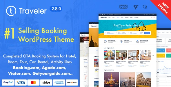 Traveler 2.8.1 Nulled - Travel Booking WordPress Theme
