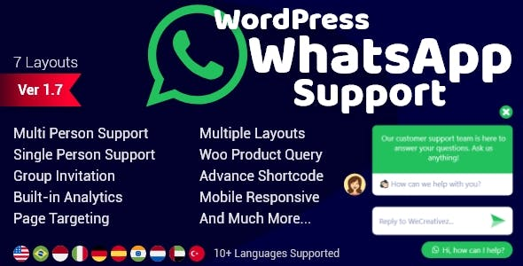 WordPress WhatsApp Support 1.9.1 (Nulled)