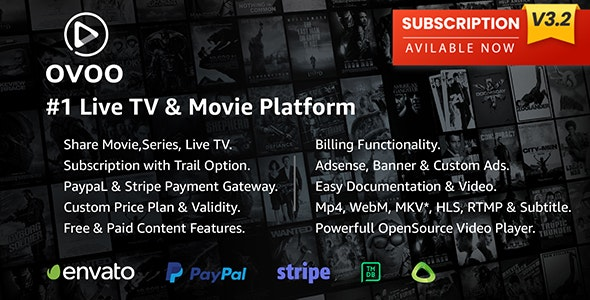 OVOO 3.2.6 Nulled - Live TV & Movie Portal CMS with Membership System