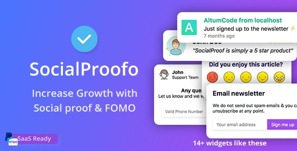 SocialProofo 1.7.5 Nulled - Social Proof & FOMO Notifications for Growth