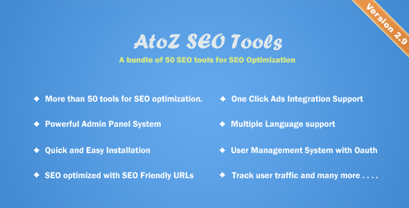 AtoZ SEO Tools 3.0 Nulled - Search Engine Optimization Tools
