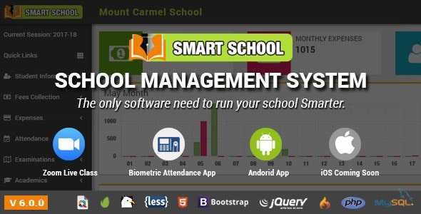 Smart School 6.1.0 Nulled (Zoom Live + Android App) - School Management System