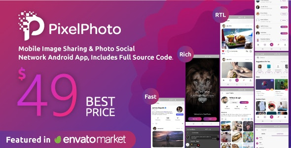 PixelPhoto Android 1.10 - Mobile Image Sharing & Photo Social Network Application
