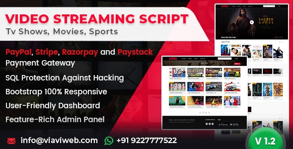 Video Streaming Portal 1.3.0 Nulled - TV Shows, Movies, Sports, Videos Streaming, Live TV