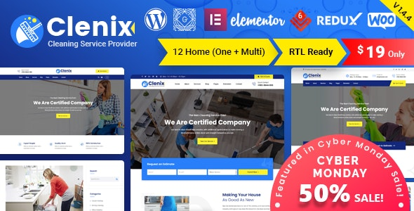 Clenix 1.4.4 - Cleaning Services WordPress Theme