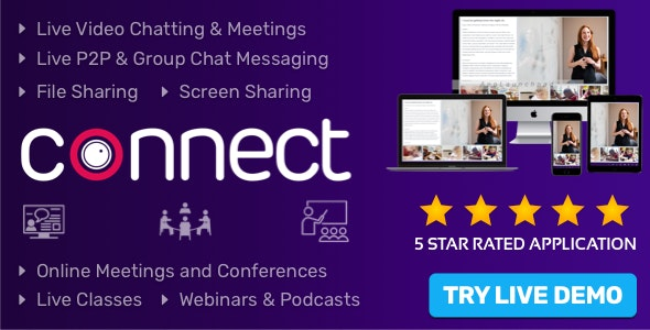 Connect 1.6.0 Nulled - Live Video & Chat Messaging, Live Class, Meeting, Webinar, Conference, File Sharing