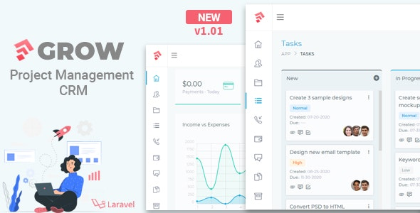 Grow 1.01 - Project Management CRM With Invoicing Estimates Leads And Tasks