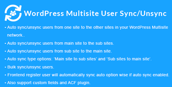 WordPress Multisite User Sync/Unsync 1.5.0 Nulled
