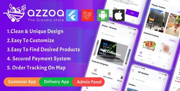 Azzoa 4.0.3 Nulled - Grocery, MultiShop, eCommerce Flutter Mobile App with Admin Panel