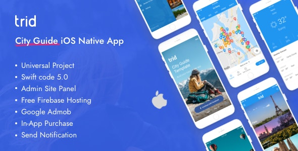 Trid 1.3.1 - City Travel Guide iOS Native with Admin Panel, Firebase