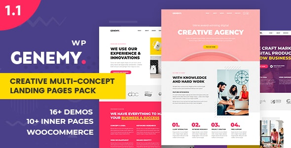 Genemy 1.5.6 - Creative Multi Concept Landing Pages Pack With Page Builder