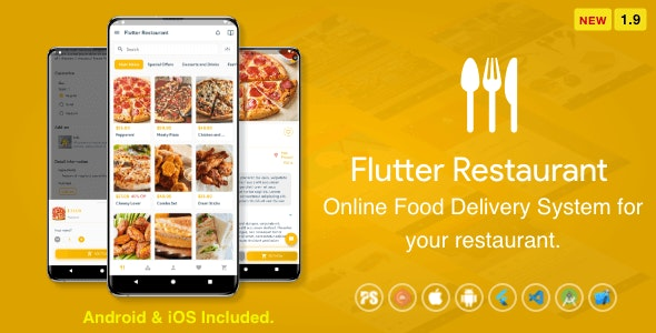 Flutter Restaurant 1.9 - Online Food Delivery System For iOS and Android