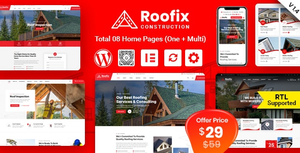 Roofix 1.4.3 - Roofing Services WordPress Theme