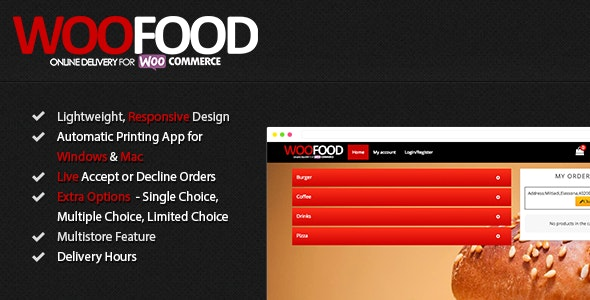 WooFood 2.6.5 Nulled - Food Ordering (Delivery/Pickup) Plugin for WooCommerce & Automatic Order Printing