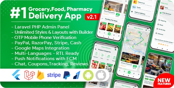 Grocery, Food, Pharmacy, Store 2.1.0 - Delivery Mobile App with Admin Panel